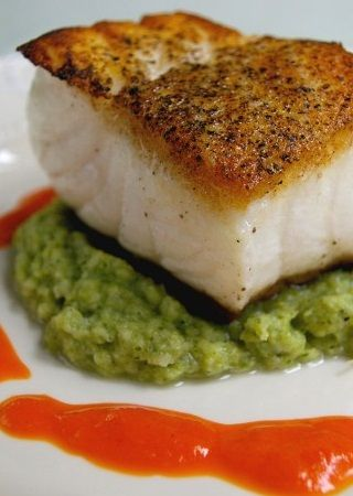 PAN-FRIED SEA BASS with ROASTED RED BELL PEPPER SAUCE & BROCCOLI PUREE [Laura Calder] [cookingchanneltv]