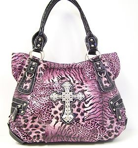 Western Cowgirl Handbag Purple Black Rhinestone Cross Studs Bling Purse Tote Bag | eBay