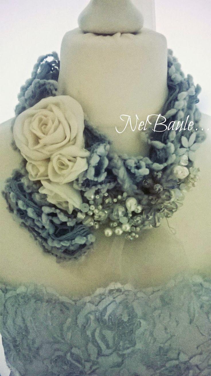 Nel baule di Marci,bijou textil,scarf,necklace,lana,crochet,rose in stoffa,seta