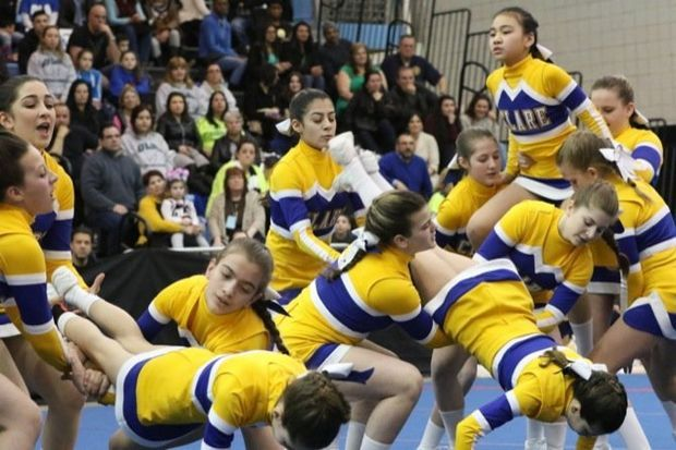 St. Clare's performs in the Elementary small division competition of the 2015 C.Y.O. Archdiocesan Cheerleading Competition Saturday, March 21, 2015 at the College of Staten Island. (Staten Island Advance/Bill Lyons)