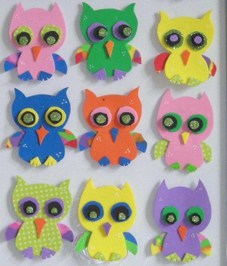 gufetti in gomma crepla calamitati - birthday gift idea for kids foamy owl - souvenir cumple, buho gomaeva con iman