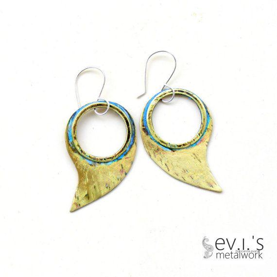 Brass Hoop Teardrop Green Patina Earrings by evismetalwork on Etsy, €24.00