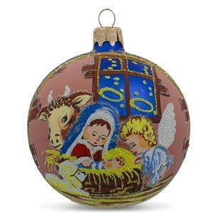 Mangel Ukrainian Glass Ball Religious Christmas Nativity Ornament Holiday Gift Idea