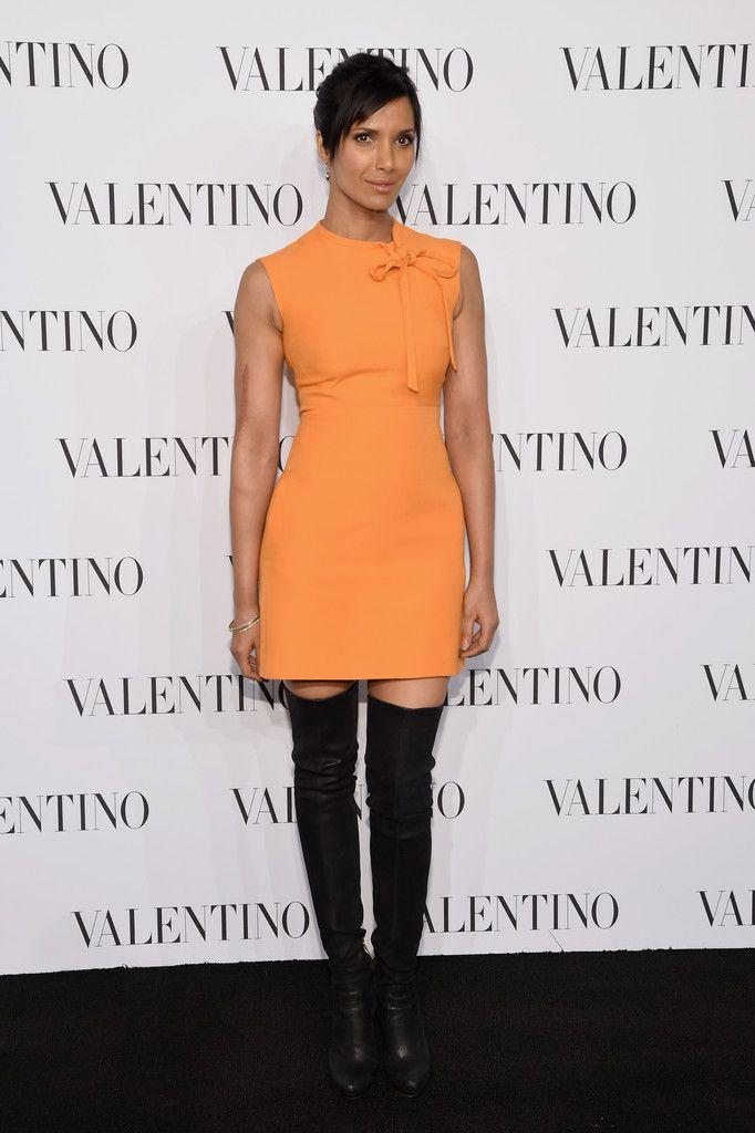 Padma Lakshmi.. Valentino Crepe Tie-Neck Sheath..