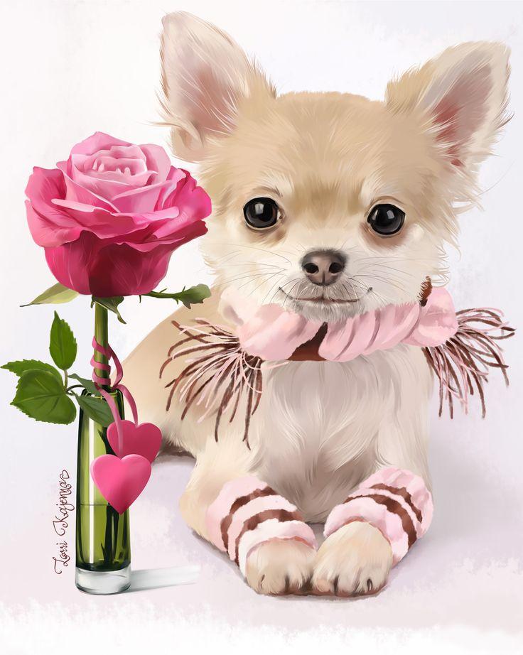 Днем рождения, животные с цветами на открытку