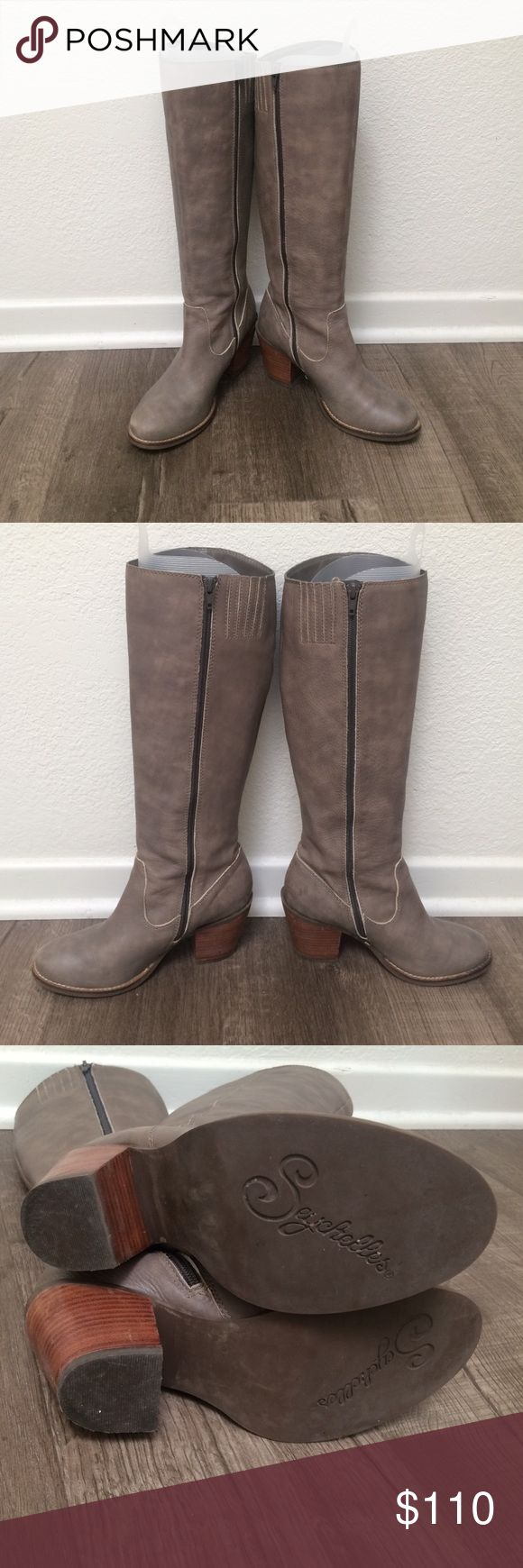 Grey Seychelles Boots Gorgeous grey Seychelles boots. Worn a handful of times. In excellent condition and I had the boot inserts so they kept their shape. The grey has a faded look to it. It's meant to look like that. The heel is chunky maybe 2 or 2.5 inches Seychelles Shoes Heeled Boots
