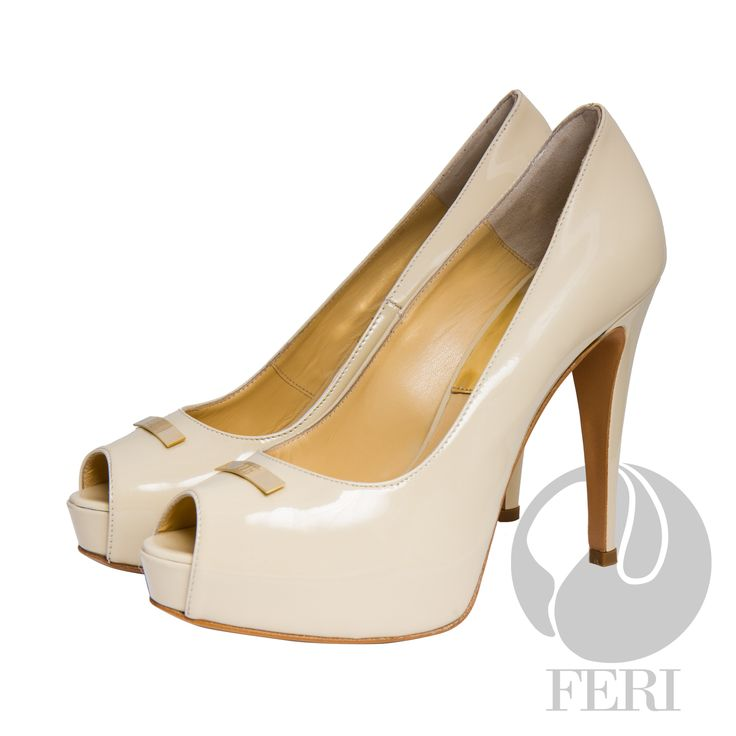 """FERI - CATERINA - SHOES - Light Cream Beige Patent - Patent napa leather pump with stiletto heel - Napa leather sole and insole - Colour: Beige - FERI logo hardware on sole and top of toe - Heel height: 4.75"""" with a platform 1.08""""  Invest with confidence in FERI Designer Lines. www.gwtcorp.com/ghem or email fashionforghem.com for big discount"""