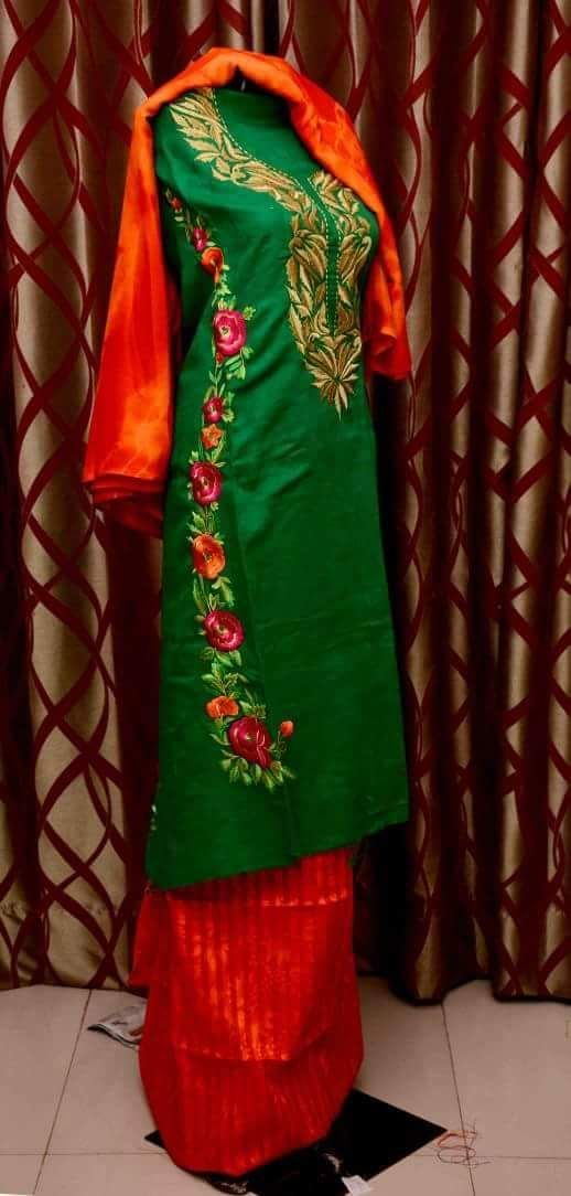 Machine Embroidered Pure Creap Suit in Green Color With Red Bottom,With Pure Chinon Chiffon Dupatta