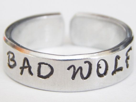 Bad Wolf Doctor Who Inspired Cuff  Ring Aluminum Hand Stamped