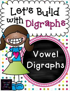Let's Build with Vowel Digraphs- This digraph resource pack includes 120 vowel digraph word building mats to help your students practice spelling words with long a vowel digraphs ai and ay, long e vowel digraphs ee and ea, long o vowel digraphs oa and ow, and variant vowel digraphs oi, oy, ew, ue, au, aw, ow, ou, and oo. $