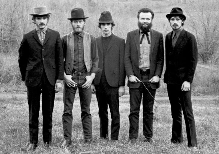 From left, Rick Danko, Levon Helm, Richard Manuel, Garth Hudson and Robbie Robertson of the Band in Woodstock, N.Y.