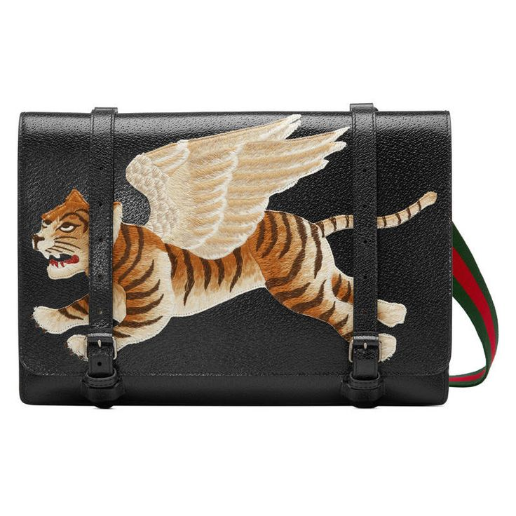 GUCCI LEATHER MESSENGER WITH TIGER. #gucci #bags #shoulder bags #leather #
