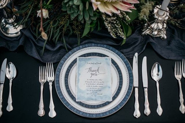 Watercolor wedding thank you card and classic place setting | Meredith Lord