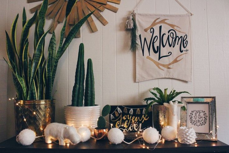 College Apartment Decor   Gold, Succulent, Cacti, Typography, For the Love of Letters