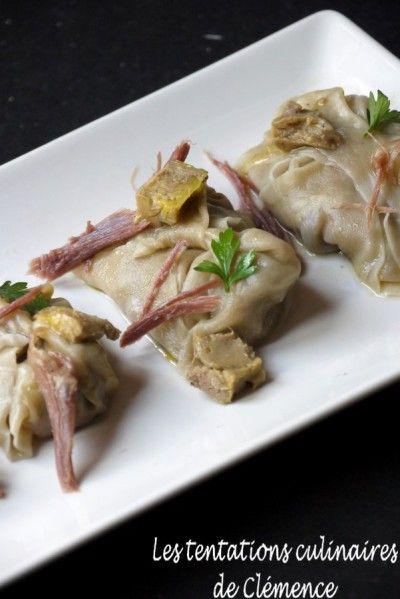 Raviole de foie gras et de confit de canard.
