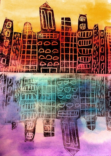 Cityscape prints.