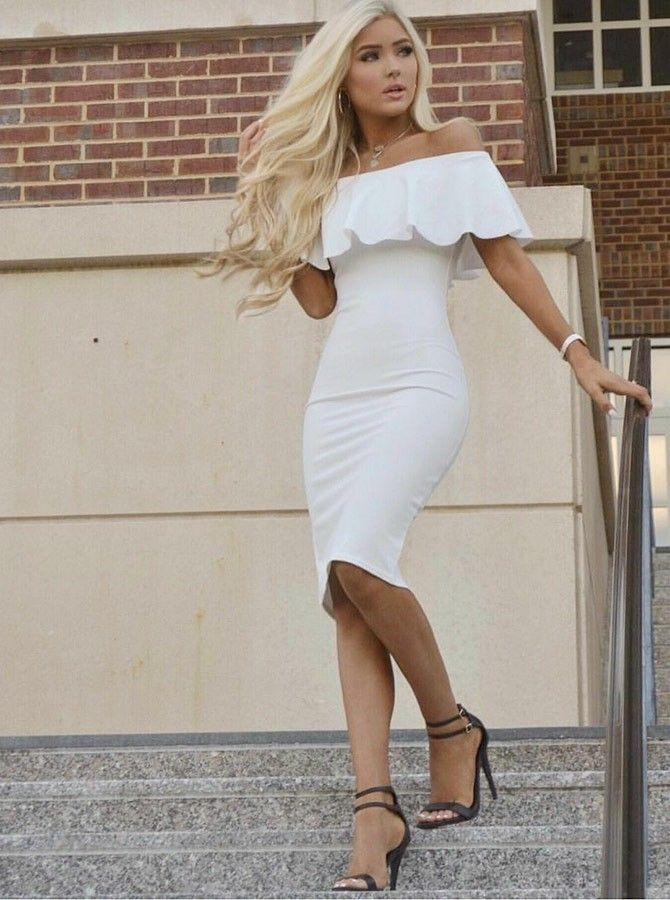 Sheath Off The Shoulder Knee Length White Homecoming Cocktail Dress With Ruffles White Dress Party White Homecoming Dresses White Dresses Graduation