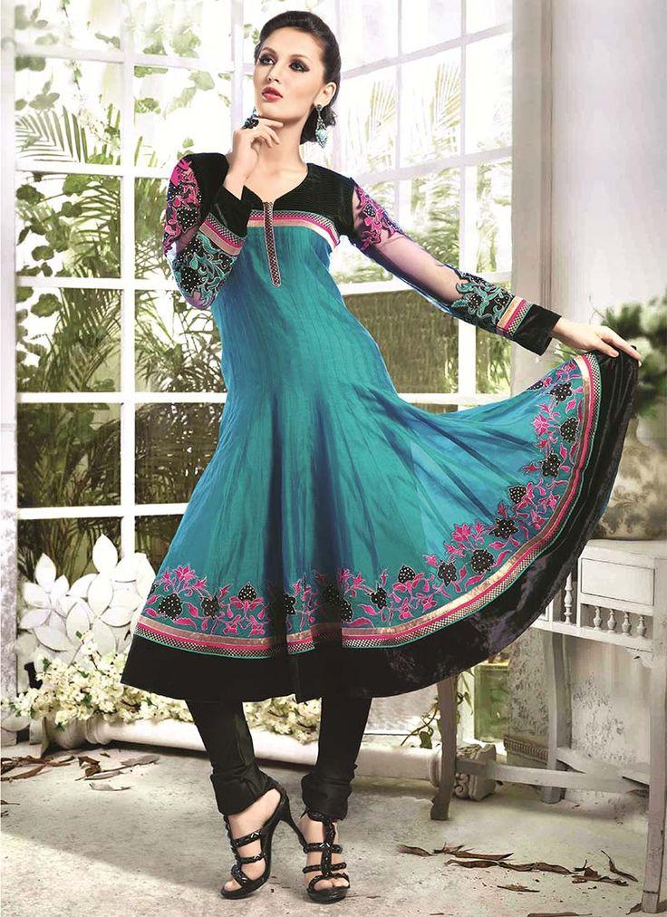 Buy Teal Green Art Silk Cotton Anarkali Suit, anarkali-suit Online Shopping, SLSSFM1807