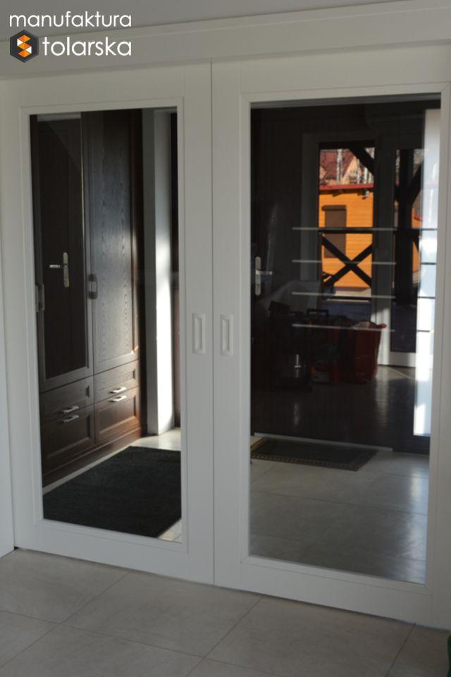 Wood glass white door. Made in Poland. Manufaktura stolarska 2017. Wykonujemy drzwi wewnętrzne w wykończeniach fornir lub lakier. #design #wood #wall #glass #flat #home #door #white #big