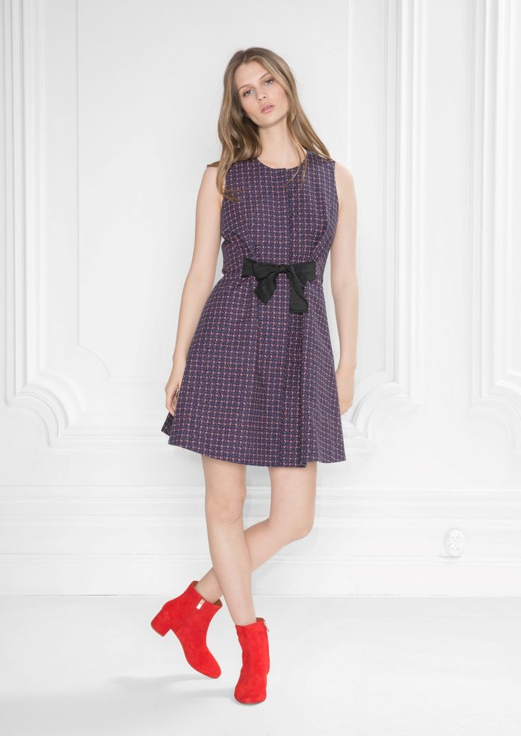 & Other Stories image 2 of A-line Cotton Dress in Navy #summer #spring #dress #fashion #preppy