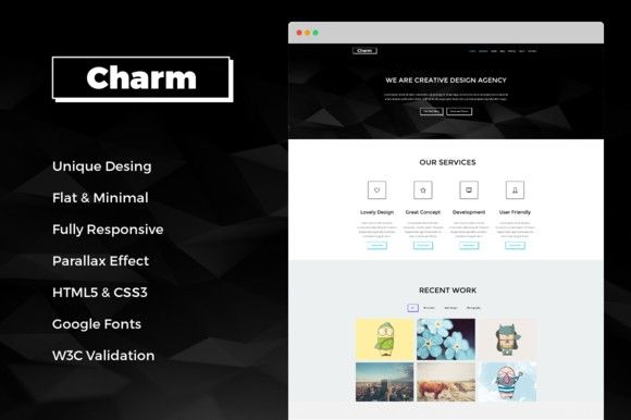 Charm - Responsive One Page Template. HTML/CSS Themes. $15.00
