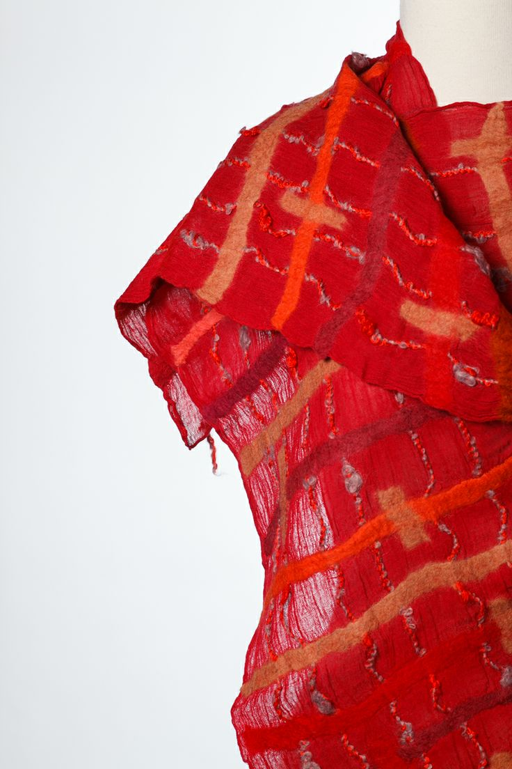 muslin and wool felt scarf handmade in Kyrgyzstan, designed by Aidai http://www.aidai-design.com/scarves Photo by David J Swift