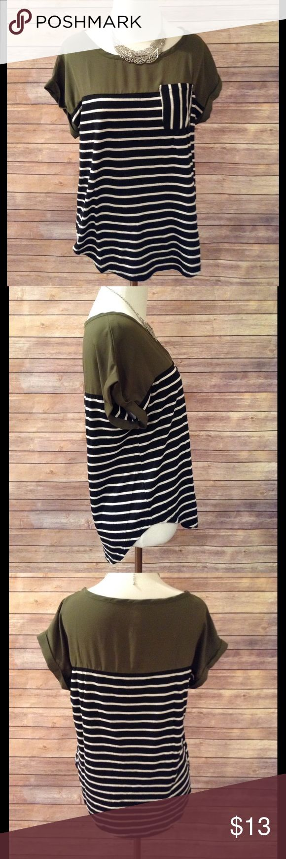 💕CUTE!!! Olive Green and striped Blouse💕 EUC!!! Hi-Lo blouse with pocket on front. Very comfortable and stretchy! Size Medium. Thanks for looking! Tops Blouses