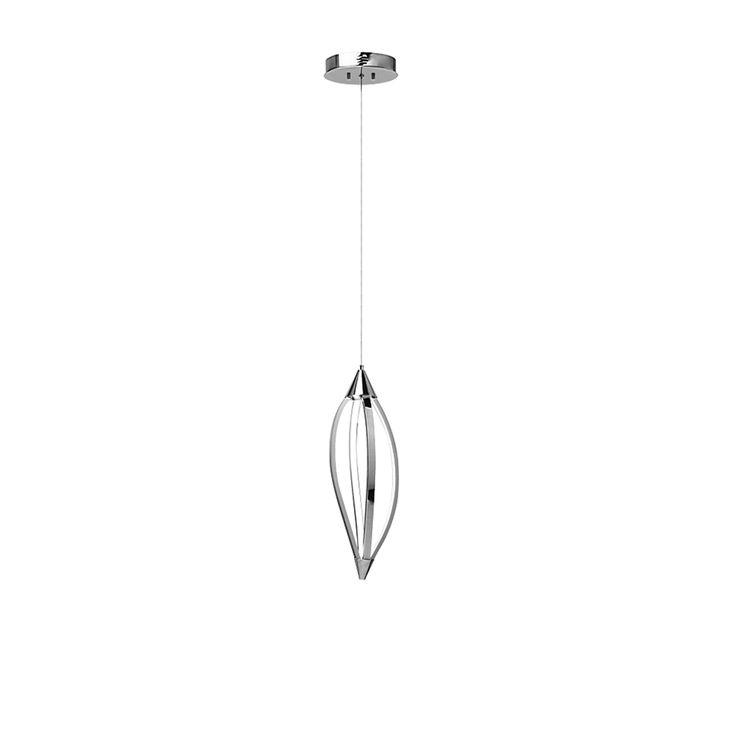 LED Pendant, w/Swooped Arms, Polished Chrome