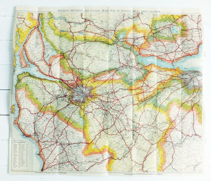 Vintage Scottish map, 70 miles about Glasgow, Porteous Motoring and Cycling Map of Seventy Miles about Glasgow - Gift for Cyclist