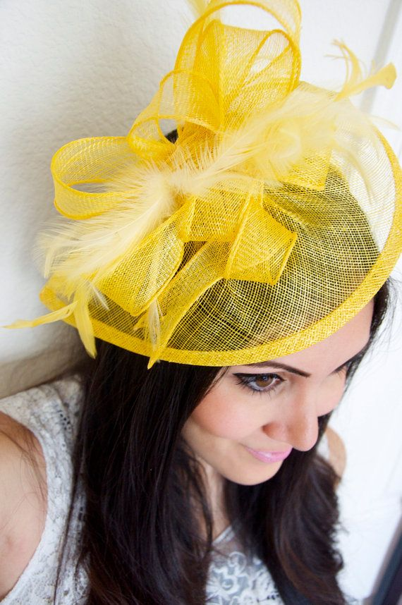 Sunshine Yellow Fascinator  Penny Mesh Hat by EyeHeartMe on Etsy, $54.00