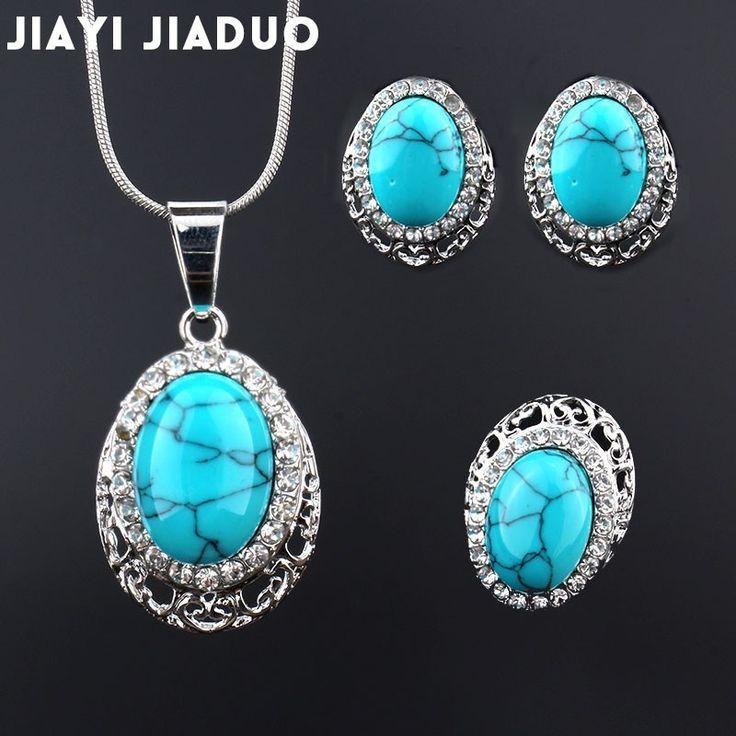 Jiayijiaduo Fashion Hochzeit Schmuck-Set Silber-Farbe Afrika Anhänger Ohrringe …
