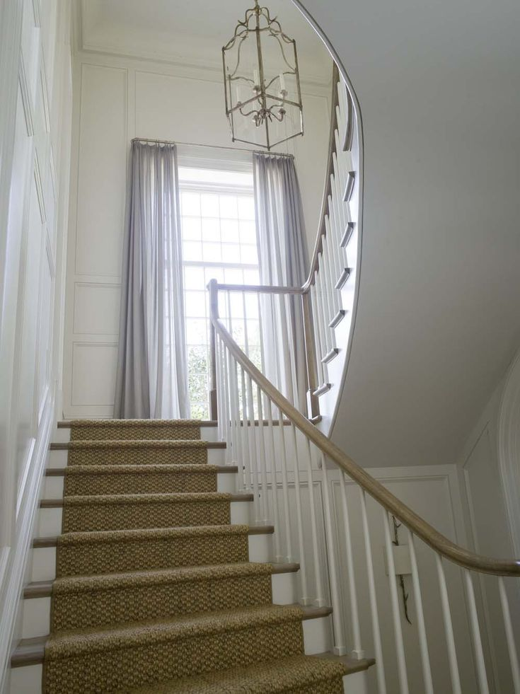 Open Foyer Window Treatments : Seagrass runner wainscoting window draperies phoebe