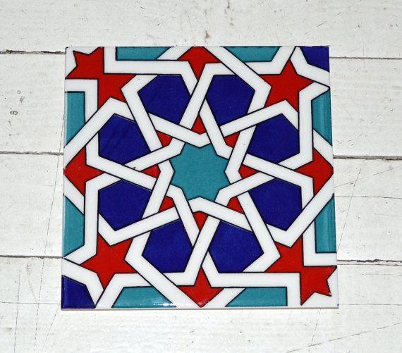 Turkish Seljuk print tile Geometric design and Set by Turkishtiles