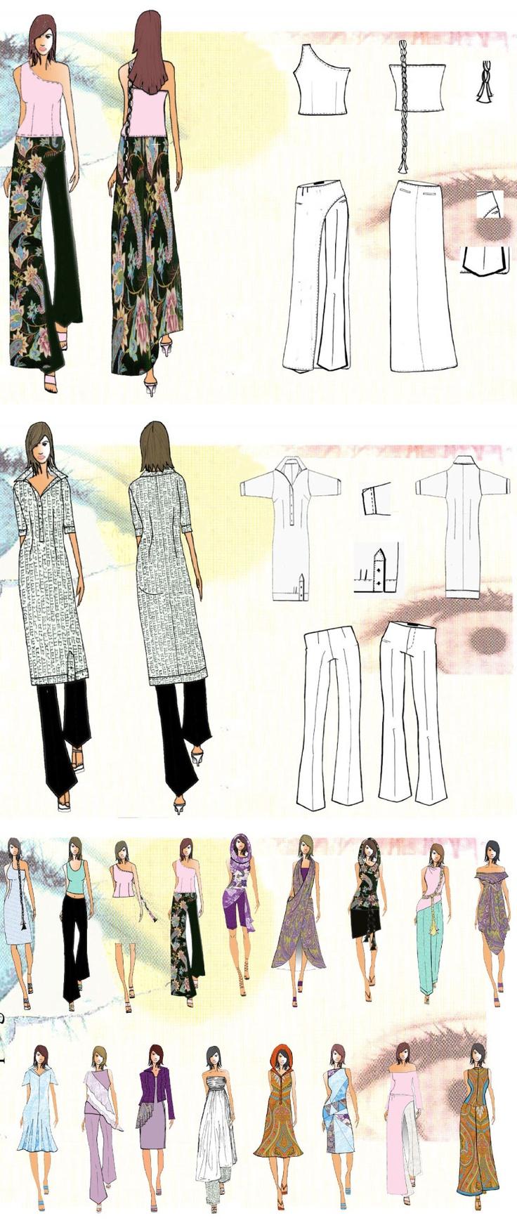 indian contemporary fashion | moda contemporânea indiana | croquis | sketches