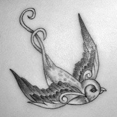 The swallow tattoo. Mine is very similar to this, on my hip :)