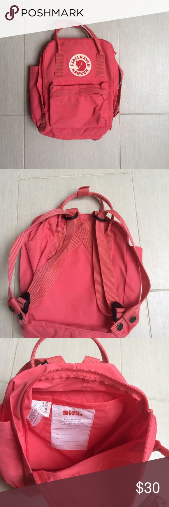 NWOT Mini fjallraven kanken pink backpack Worn once or twice but I've grown out of it pretty quickly no signs of damage or wear Urban Outfitters Bags