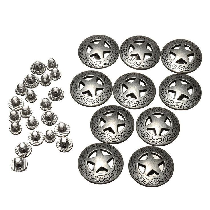 10 Unids/set 20mm Botones de Texas Star Concho Occidental Clip para Ropa Cuero DIY Accesorios de Prendas de vestir Textiles Para El Hogar(China (Mainland))