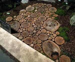 wood-patio-deck-design-ideaGardens Ideas, Trees Trunks, Walkways, Gardens Paths, Garden Paths, Step Stones, Wood Slices, Trees Stumps, Backyards