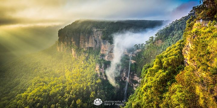 """The myth to Govett's Leap, Blackheath: """"Instead of being caught a bushranger, being chased down the creek, jumped himself and horse over Bridal Veil Falls"""". Yes, it's a myth, but it has a bit more charm than 'government official names lookout after himself''? The falls are named after William Romaine Govett, an assistant to the Surveyor General at the time, who first came upon the spot in June 1831 (image by Rhys Pope Photography)"""