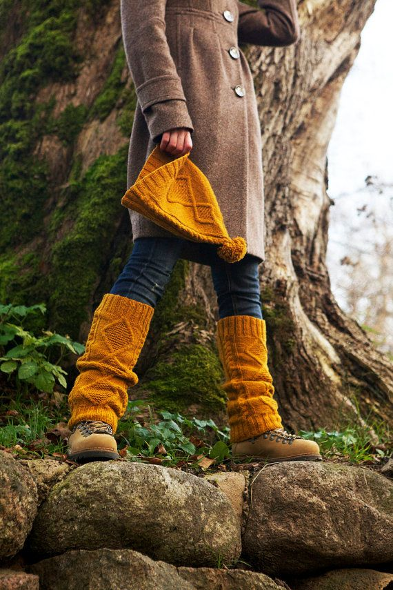 Childhood memories hand knitted cap hat leg warmers mustard