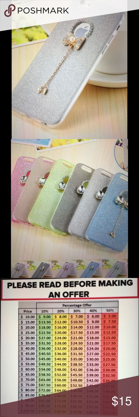 Phone case silver iPhone 6 Plus This fun phone case is a great accessory that comes in a variety of colors-with bling to make your phone pop! Have these in 3 colors silver, pastel pink, pastel blue, and pastel green. Check closet for other colors. Accessories Phone Cases