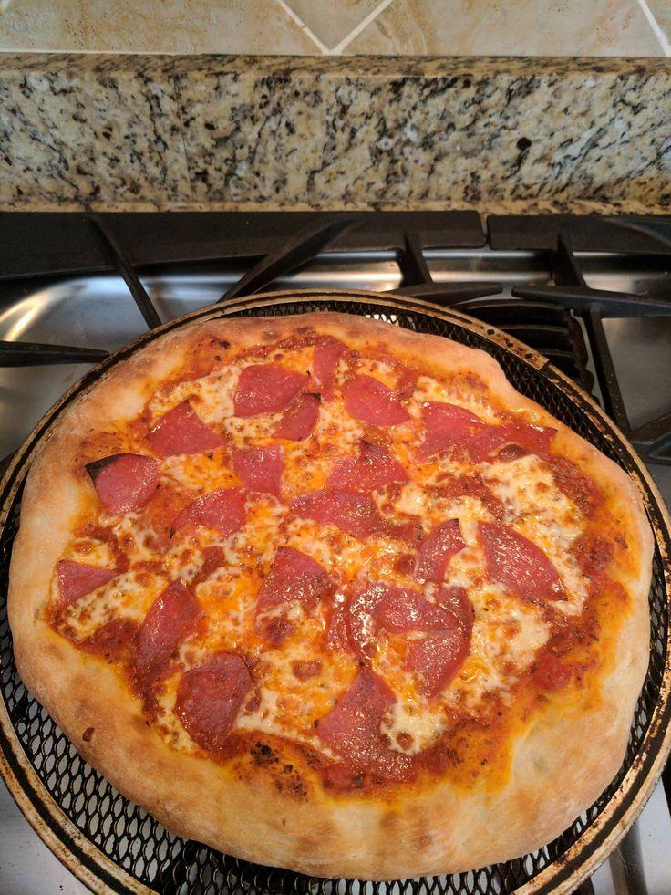 Tried a new dough recipe. Salami pizza. #pizza #food #foodporn #yummy #love #dinner #salsa #recipe