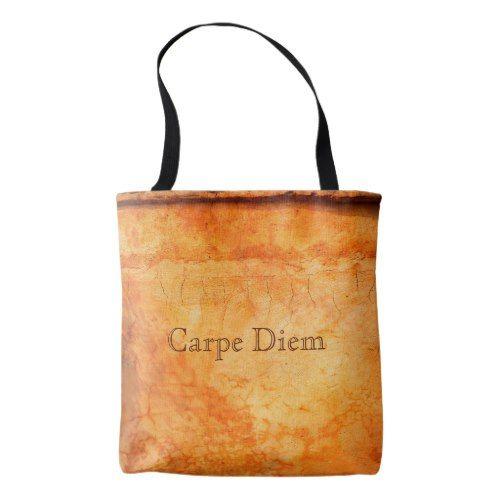 Carpe Diem brown bronze terracotta brick wall Tote Bag