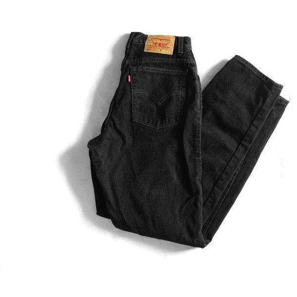 90s Black High Waisted Levi's 512 Jeans Minimalist Denim 26 x 31 7... ($54) ❤ liked on Polyvore featuring jeans, high rise jeans, high-waisted jeans, slim jeans, slim fit denim jeans and slim straight leg jeans