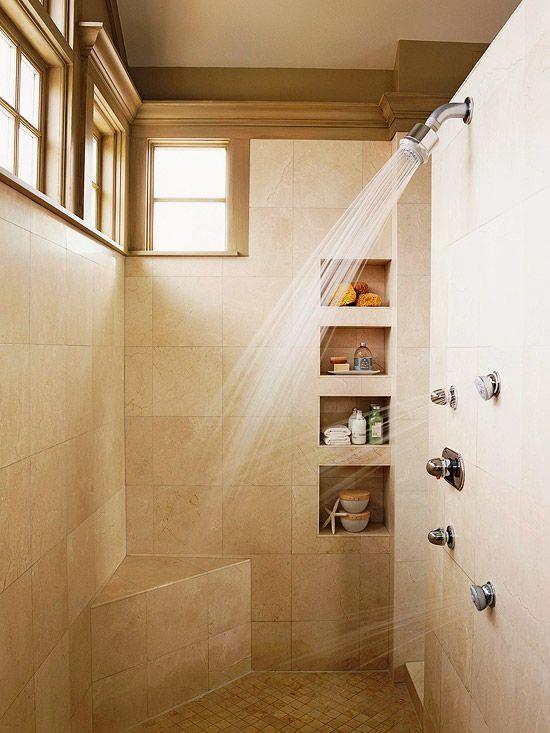 Niches and corner bench: Showers, Shower Head, Window, Dream House, Bathroom Ideas, Bathroom Shower, Master Bathroom