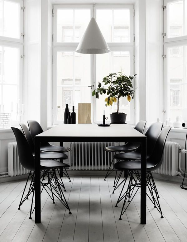 Dining Area, Table, Chairs, Black And White, Interior Design / Lemon Tree