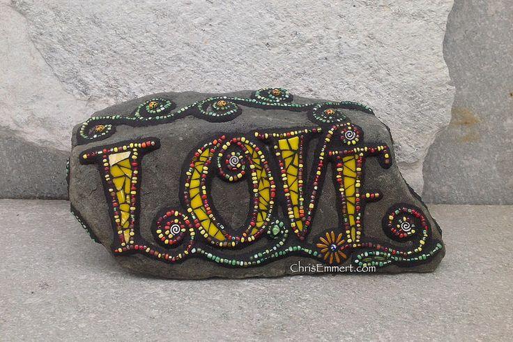 Mosaic Love Garden Stone