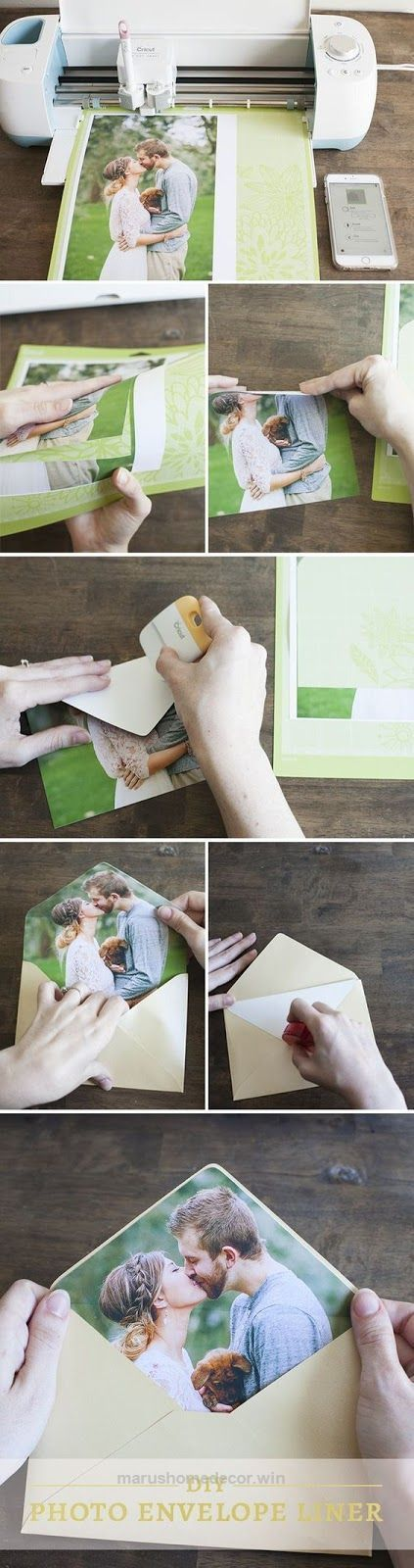 Tutorial: Photo envelope liner for wedding invitations. Made with a Cricut Explore.