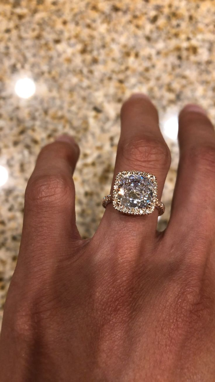 5 Carat Cushion Cut Diamond Halo Three Row Pave Engagement Ring Rose Gold