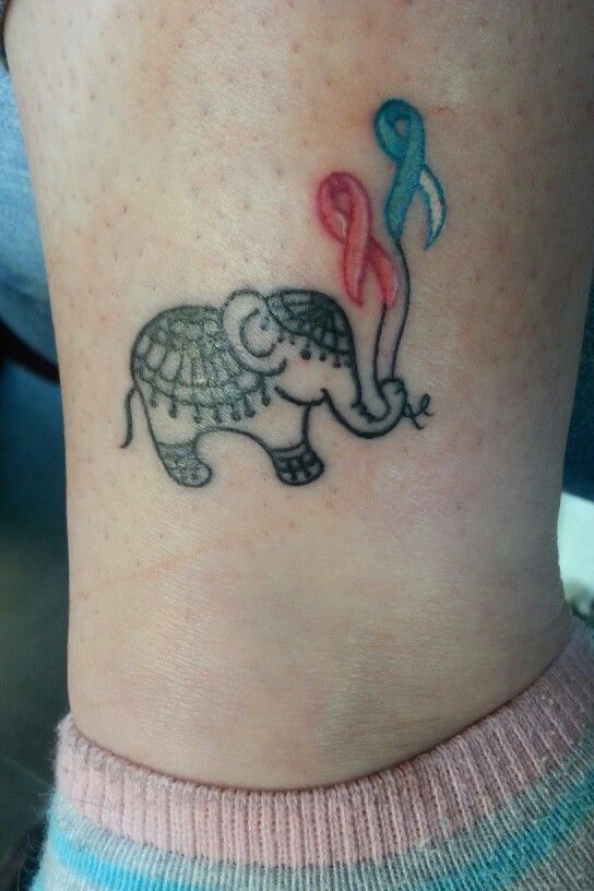 Elephant tattoo with Breast cancer and Cervical cancer ...